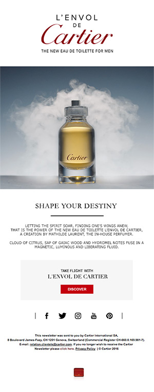 L'ENVOL DE CARTIER SHAPE YOUR DESTINY newsletter newsletters e-mailing emailing